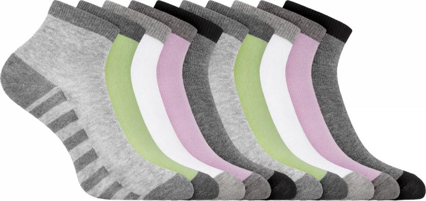 Носки женские oodji Collection, цвет: разноцветный, 10 пар. 57102418T10/47469/19UCS. Размер 38/4057102418T10/47469/19UCSНабор из десяти пар укороченных хлопковых носков от oodji. Хлопковые носки гигиеничны – в них кожа дышит и нет риска возникновения раздражений. Благодаря небольшому добавлению эластана носки тянутся и хорошо держат форму даже после многочисленных стирок. Такие носки прекрасно подойдут для разной погоды.Набор из десяти пар носков отличается практичностью и универсальностью. Вам не нужно будет долго искать носки, подходящая пара быстро найдется, а вы потратите минимальное время на сборы. Укороченные носки прекрасно подходят для спорта и отдыха. Они хорошо сочетаются с кроссовками, кедами, ботинками. Такие носки остаются незаметны под обувью и одеждой и при этом позволяют вам чувствовать себя комфортно и непринужденно.