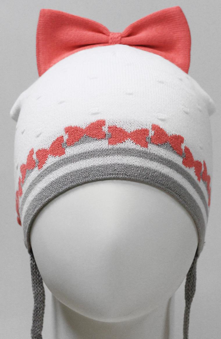 Шапка для девочки Marhatter, цвет: белый. MDH7251. Размер 48/50MDH7251Хлопковая шапка на завязках для маленьких принцесс. Модель украшена красивым вывязанным бантом.
