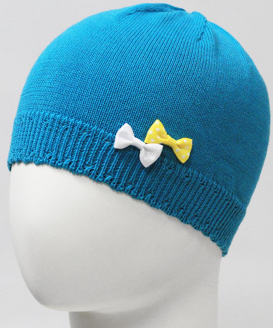 Шапка для девочки Marhatter, цвет: бирюзовый. MDH7226. Размер 44/46MDH7226Хлопковая шапка для маленьких принцесс. Модель дополнена изящными объемными бантиками. Представлена в 3-х размерах для детей от 3 мес. до 1 года.