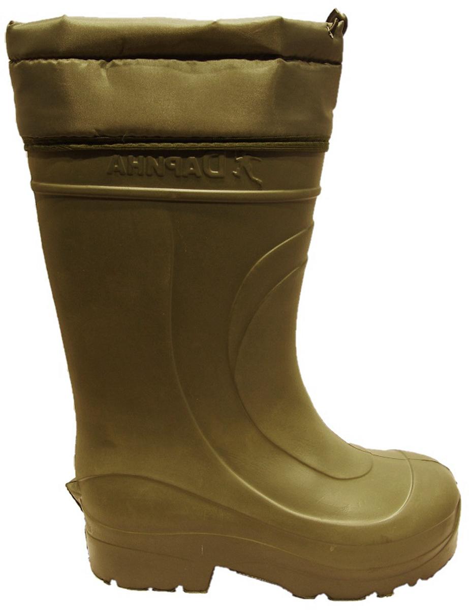 Сапоги зимние мужские Дарина Мороз, с надставкой и утеплителем, цвет: оливковый. Размер 44-45Д333/44-45оливаСапоги мужские Мороз из материала ЭВА — современная, очень легкая и надежно сохраняющая тепло обувь. Сапоги предназначены на осенне- зимний период. Отличная обувь для активного отдыха на природе. Обувь из ЭВА – является гипоаллергенным материалом, не впитывает запахи и грязь, а так же препятствует размножению грибков. За обувью из материала ЭВА очень легко ухаживать, не требуют специфических условий хранения. Верх модели выполнен из многослойной ткани Drive, которая обладает водоотталкивающими свойствами. Вкладыш выполнен из овечьей шерсти — очень мягкого меха. Мягкий мех, овечья шерсть 80%, ПЭ 20% нетканое трикотажное полотно с гидрофобным волокном позволяют сохранять ваши ноги в сухости и тепле. Так же вкладыш имеет металлизированную фольгу для отражения холода и мембранную сетку для защиты фольги. Данная модель имеет уплотненную пятку, что делает обувь Архон Плюс наиболее удобной. Оснащена утеплителем Мороз, который способен выдерживать температуру до -40С. Модель подойдет любителем зимней рыбалки и охоты, а так же тем, кто работает при экстремально низких температурах.