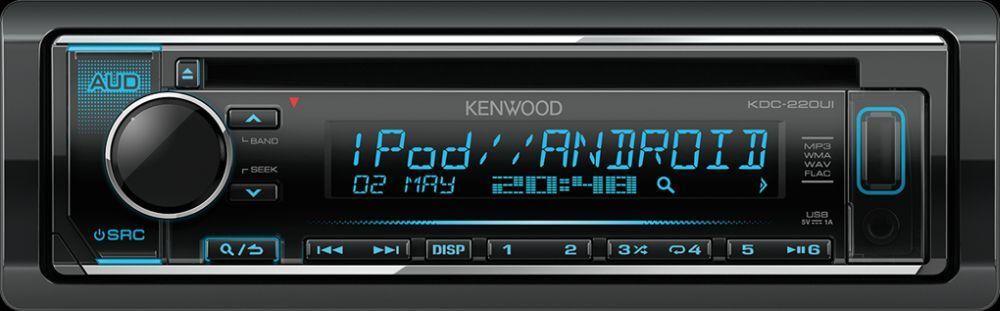 Kenwood KDC-220UI автомагнитолаKDC-220UIИзменяемый цвет подсветки 13-cимвольный, двухстрочный широкий ЖК-дисплей CD/USB: воспроизведение файлов MP3 и WMA USB: воспроизведение файлов WAV и FLAC (до 16бит/48кГц) 3-полосный параметрический эквалайзер 1 пара линейных выходов 2,5В Фронтальные входы AUX и USB с подсветкой под удобной сдвигающейся крышкой, уменьшающей попадание пыли Воспроизведение музыки со смартфонов iPhone и Android. Зарядка смартфонов по USB, сила тока до 1А Потребление в выключенном состоянии менее 1мА