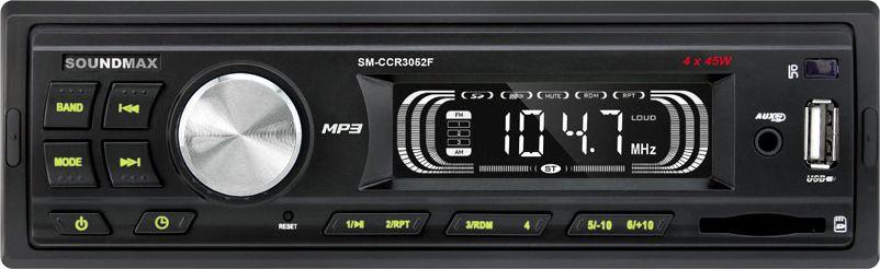 Soundmax SM-CCR3052F автомагнитолаSM-CCR3052F(ЧЕРНЫЙ)\GФиксированная передняя панельБелая подсветка символов на дисплее и зеленая подсветка кнопок Монохромный ЖК-дисплей. Символы вертикально-ориентированы USB/SD: воспроизведение файлов MP3Возможность работы с плеерами iPod через AUX 1 линейный выход RCAФронтальные входы AUX и USBDSP-процессор: Classic, Pop, Rock, Off
