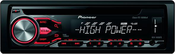Pioneer DEH-4800FD автомагнитолаDEH-4800FDАвтомагнитола DEH-4800FD обеспечивает мощное звучание, оснащена тюнером с RDS, а также позволяет воспроизводить композиции с iPod, iPhone, смартфона с системой Android и других устройств, подключенных к порту USB или входу Aux на передней панели.Эта стереомагнитола 4 x 100 Вт обеспечивает мощное и высококачественное звучание класса FD. Для увеличения мощности можно подключить дополнительные сабвуферы или усилители, используя 2 выходных разъема RCA на задней панели устройства.