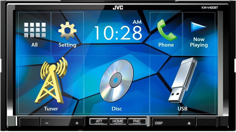 JVC KW-V420BT автомагнитолаKW-V420BTАвтомагнитола JVC KW-V420BT привлекает внимание большим сенсорным экраном, гарантирующим комфорт работы со всеми функциями проигрывателя. Мобильные устройства могут напрямую взаимодействовать с этим проигрывателем. JVC KW-V230BT допускает воспроизведение музыки в разных форматах с разных носителей, а также воспроизведение видео и просмотр изображений. Автомагнитола располагает четырьмя аудиовыходами мощностью по 50 Вт, необходимыми для подключения автомобильной акустики. Добиться желаемых параметров звука пользователям поможет семиполосный эквалайзер.