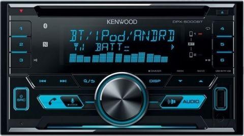 Kenwood DPX-5000BT автомагнитолаDPX-5000BTНовый, увеличенный 1,5-строчный ЖК-дисплей с вертикально-ориентированными символами13-полосный эквалайзерИзменяемый цвет подсветкиОдновременное подключение 2 телефоновПоддержка беспроводного управления музыкой (профиль AVRCP 1.5)Легкое ВТ-подключение по USB-кабелю для Android и iPhoneУправление музыкой по USB на iPod, iPhone и AndroidПоддержка форматов музыкальных файлов FLAC, WAV, MP3, WMA и AACМаксимальная мощность 4х50Вт и 3 пары линейных выходов 4В