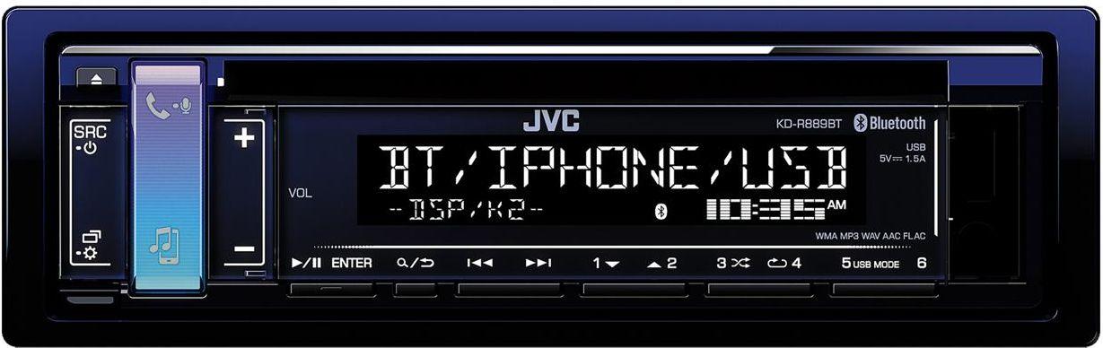 JVC KD-R889BT автомагнитолаKD-R889BTПостоянное подключение двух телефоновПоддержка Bluetooth AVRCP1.5Воспроизведение музыки с iPod/iPhoneAndroid Music Playback (AUDIO MODE и AUTO MODE)Цветовое решение Midnight BlueТехнология K2Звуковые задержкиJVC Streaming D.J.Профиль Bluetooth Hands-Free 1.6Автоматическая синхронизация Android и iPhone по Bluetooth13-полосный графический эквалайзерdrvnEQVolume Link EQSound ResponseSound LiftВысокоскоростная зарядка до 1,5 АПриложение JVC Remote ControlКлавиша доступа с мульти-изменяемой подсветкой (2 светодиода)Поддержка FLAC 24bit с ID3 тэгами2-строчный вертикально ориентированный LCD дисплейSpace Enhancement