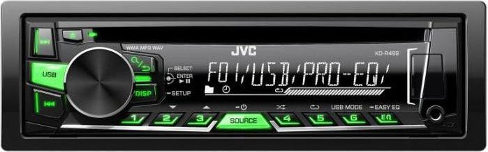 JVC KD-R469EY автомагнитолаKD-R469EYАвтопроигрыватель JVC KD-R469EY — надежен и функционален, а его компактный размер 1 din подходит для салонов любых автомобилей. Высокое качество звучания достигается за счет восстановления высокочастотной информации, а предустановленные настройки эквалайзера помогут создать насыщенное звучание. Передняя панель с ЖК-дисплеем и кнопками управления легко снимается, поэтому вам не придется переживать за сохранность магнитолы. Модель JVC KD-R469EY имеет русскоязычное меню. В режиме радио, благодаря RDS-декодеру на дисплее, отображается информация о радиостанции и музыкальных треках. Интуитивно понятное меню позволяет легко переключаться между режимами воспроизведения, переходить к нужной папке и управлять звуком.