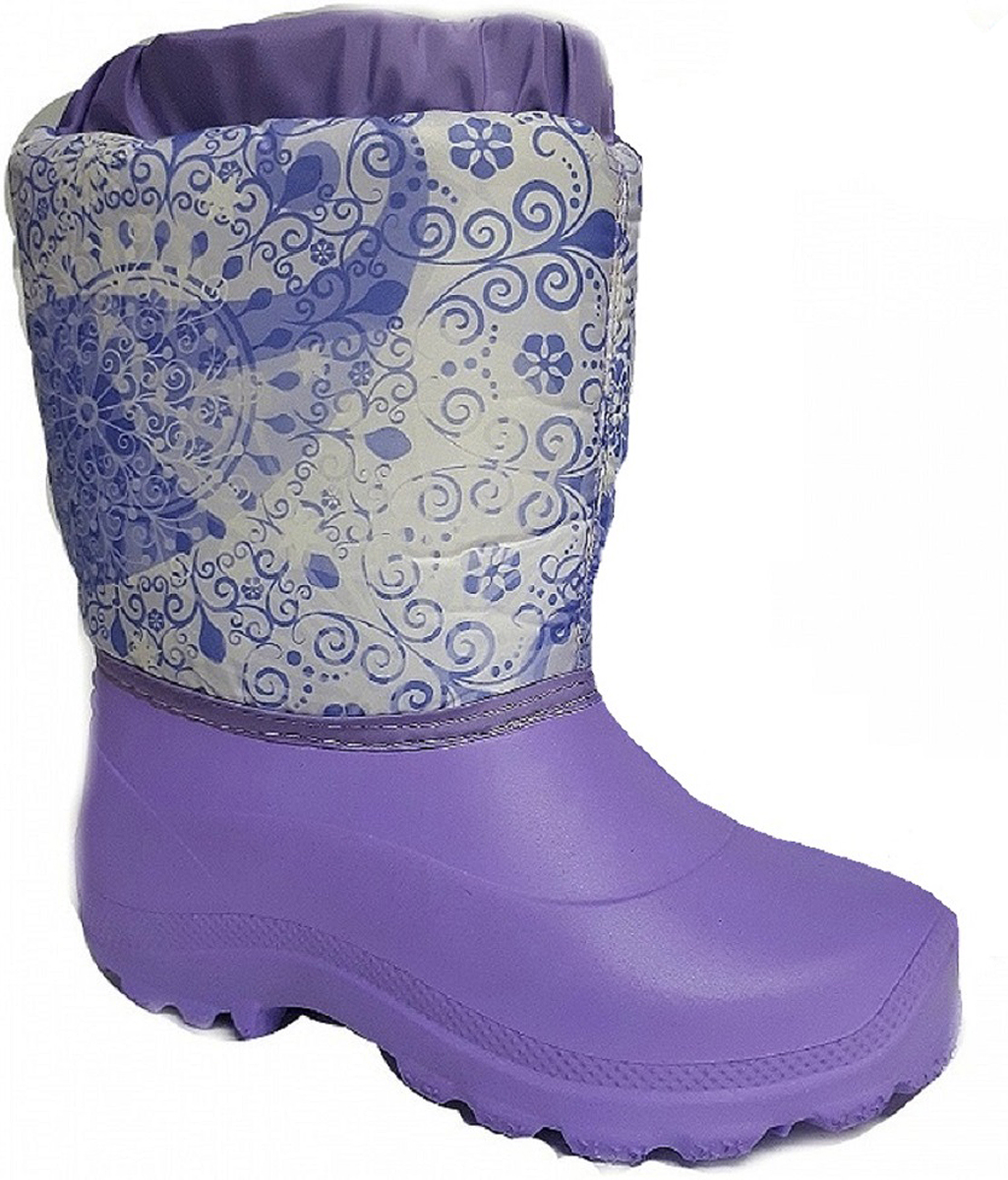 Норды детские Дарина Варенька, цвет: сиреневый. Размер 28-29Д604/28-29сиреньНорды детские Варенька очень легкие и теплые.Низ норда выполнен из морозостойкого материала ЭВА, и анти-скользящей подошвы. Верх норда выполнен из сверхпрочного материал Step и многослойной водоотталкивающей ткани - Drive, что позволяет сохранить ноги Вашего ребенка в тепле и сухости.Тип: Сапоги. Утепленные: да. Температурный режим: до -20С. Дизайн: для детей. Страна производителя: Россия.Сырье продукта: ЭВА. Материал подошвы: ЭВА. Cостав текстильного элемента: фиксатор, люверсы, шнур-резина, молния. Название ткани: Дюспо 210 + ППУ. Свойства ткани Дюспо – это прочная ткань из синтетических волокон (нейлона или полиэстера) определенной структуры с нанесенным полиуретановым покрытием (PU или PVC). Это покрытие обеспечивает водонепроницаемость ткани оксфорд и препятствует накоплению грязи между волокнами. Рулонный пенополиуретан (ППУ) широко используется в обувной промышленности. Не съёмный. Кол-во слоев: 3. Вид ткани: ворсин + стелька ЭВА. Состав ткани: однослойное ворсованное полотно из полиэстера. Поверхностная плотность 400 г/м2. Используется как альтернатива искусственному меху. Швы 0,5-0,7. Технология шва: стачной шов с открытым срезом, стачной шов с обметанным срезом, окантовка верхнего среза тесьмой.
