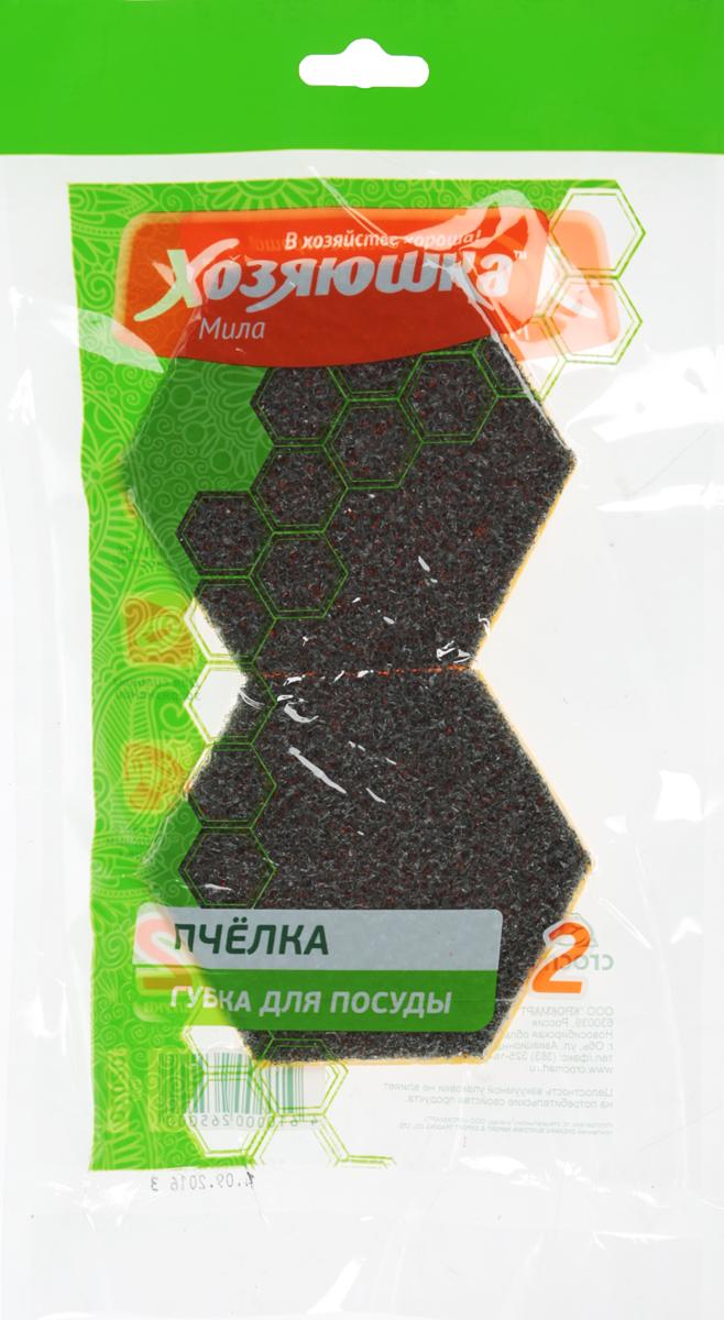 Набор губок Хозяюшка Мила Пчелка для тефлоновой посуды, в вакуумной упаковке, цвет: оранжевый, 2 шт1020_оранжевыйНабор губок Хозяюшка Мила Пчелка для тефлоновой посуды, в вакуумной упаковке, цвет: оранжевый, 2 шт