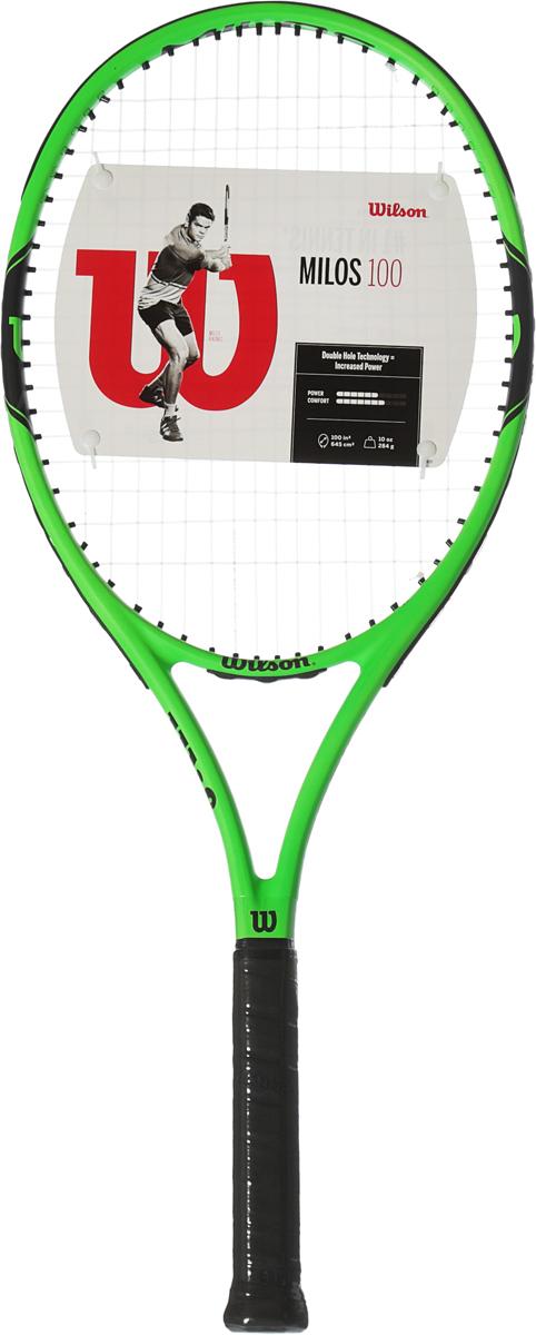 Ракетка теннисная Wilson Milos 100 Tns Rkt W/O Cvr 2WRT30040U2Milos 100 - это идеальный баланс контроля и мощи в каждом ударе, подходящий любому теннисисту. Яркий дизайн не оставит вас незамеченным на теннисном корте. Бренд Wilson - легенда большого тенниса. Это торговая марка с мировым именем. Ее продукцией пользуются известнейшие спортсмены - Филисиано Лопес, Серена Вильямс, Вера Звонарева, Виктория Азаренко.