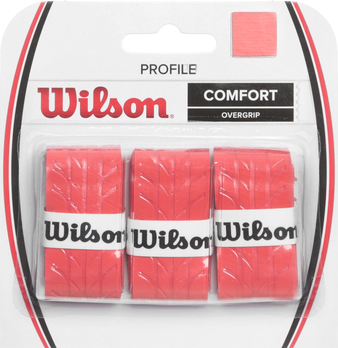 Намотка для ракетки Wilson Profile Overgrip RedWRZ4025RDОвергрипп Profile - обладает уникальной насечкой, которая увеличивает чувство ракетки в руках. Идеально подходит для использования в любых тренировочных и турнирных условиях.Поставляется в красном цвете.