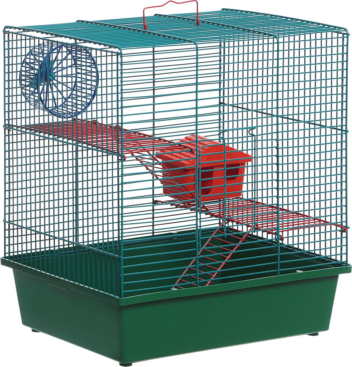Клетка для грызунов Велес Lusy Hamster-3к, 3-этажная, цвет: зеленый, 35 х 26 х 40 см315_зеленыйКлетка Велес Lusy Hamster-3к, выполненная из полипропилена и металла, подходит для мелкихгрызунов. Изделие трехэтажное, оборудовано лестницей. Клетка имеет яркий поддон, удобна виспользовании и легко чистится. Сверху имеется ручка для переноски.Внутреннеепространство клетки дополнено домиком, беговым колесом, а также небольшой чашкой длязерна и различных лакомств.Такая клетка станет уединенным личным пространством иуютным домиком для маленького грызуна.