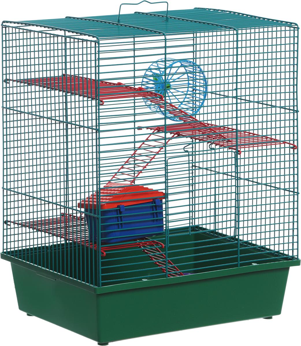 Клетка для грызунов Велес Lusy Hamster-4, 4-этажная, цвет: зеленый, 35 х 26 х 45 см клетка для грызунов ferplast hamster duo белая 46x29x37 5см