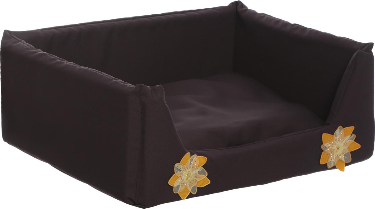 """Лежак для собак и кошек GLG """"Емеля"""", цвет: темно-коричневый, 60 х 40 х 20 см"""