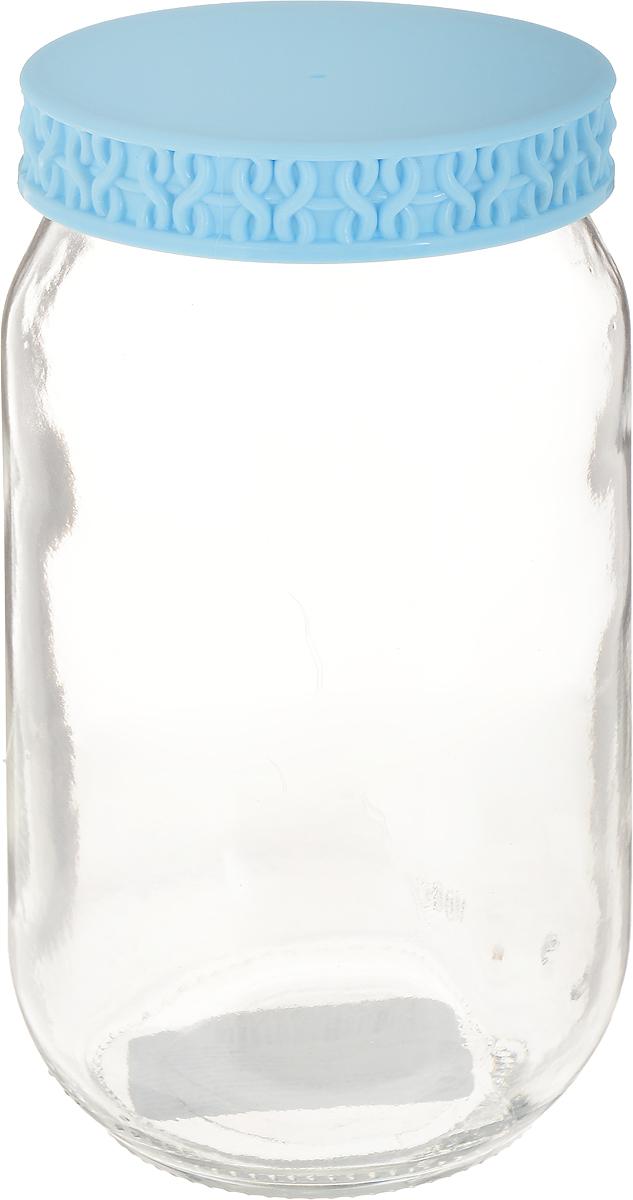 Банка Remmy Home, цвет: прозрачный, голубой, 1 л200007_голубойБанка для сыпучих продуктов Herevin выполнена из высококачественного прочного стекла. Изделие снабжено плотно закручивающейсяпластиковой крышкой с рельефом. Прозрачные стенки позволяют видеть содержимое. Такая банка отлично подойдет для хранения различныхсыпучих продуктов: орехов, сухофруктов, чая, кофе, специй. Диаметр банки: 8,5 см. Высота банки: 18 см.