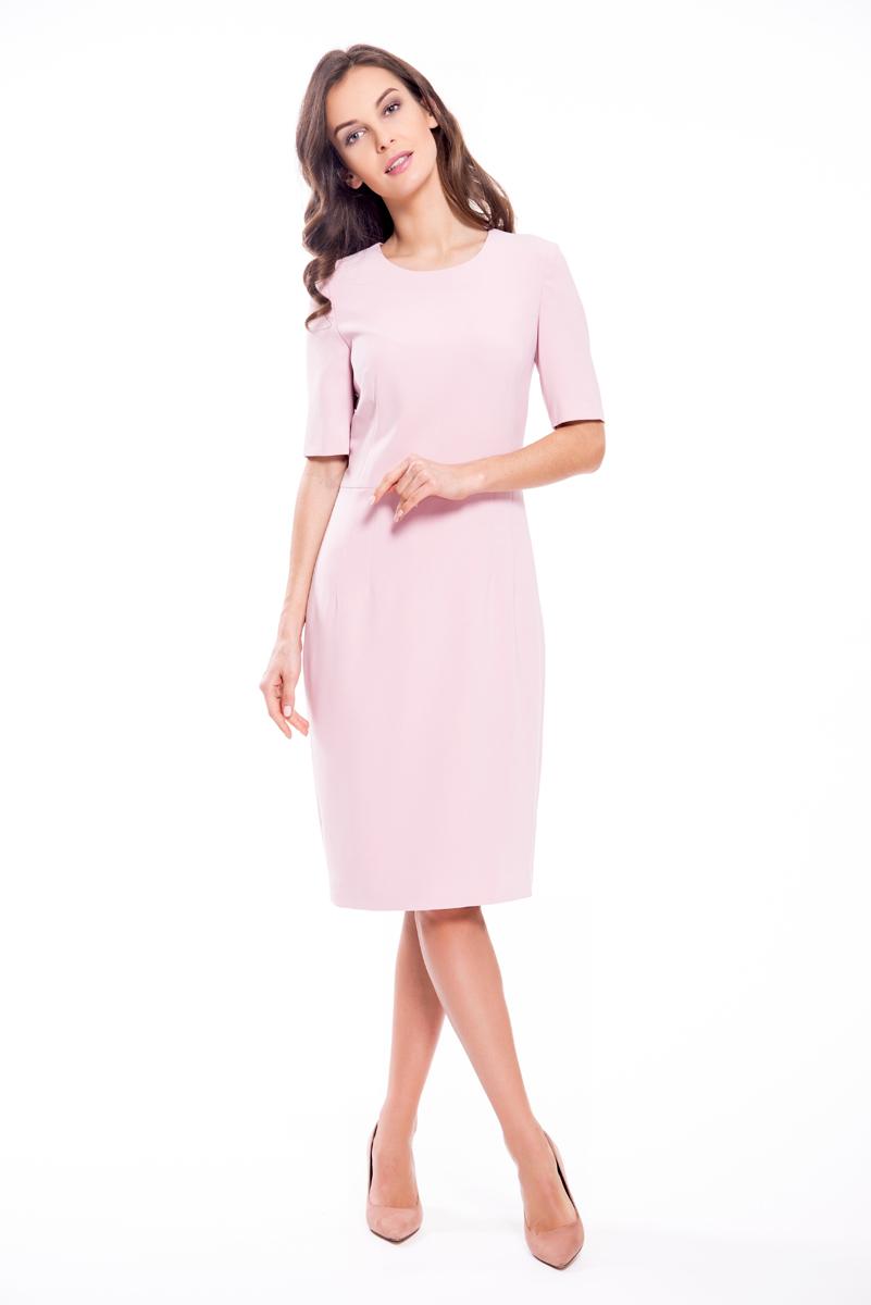 Платье Lusio, цвет: розовый. SS18-020060. Размер M (44/46)SS18-020060Стильное платье Lusio изготовлено из качественной плотной ткани. Лаконичная модель длины миди с короткими рукавами. Платье застегивается сзади на металлическую молнию.