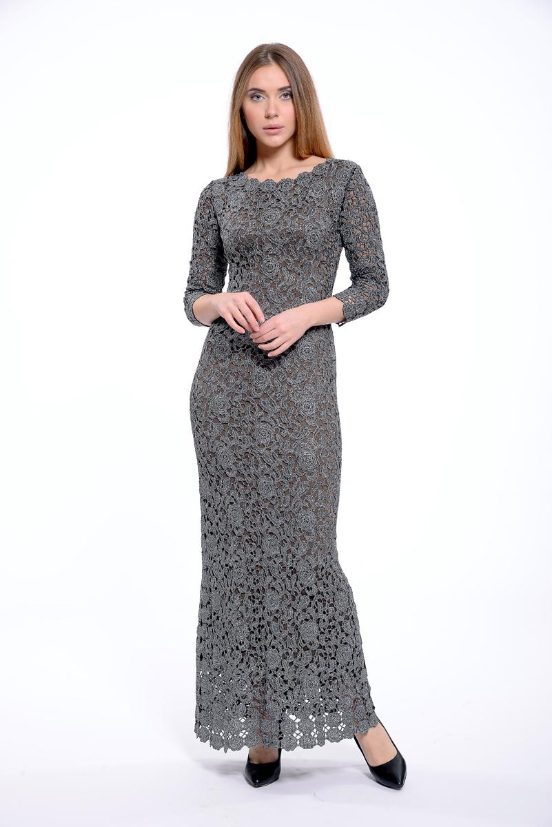 Платье Lusio, цвет: темно-серый. AK18-020334. Размер L (46/48)AK18-020334Стильное платье Lusio изготовлено из качественной эластичной ткани. Кружевная модель длины макси с рукавами 3/4. Платье застегивается сзади на молнию.