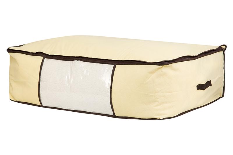 Кофр для хранения одеял и пледов El Casa Геометрия стиля, цвет: молочный, 80 х 60 х 25 см370474Вместительный мягкий кофр-чехол для хранения одеял, пледов и домашнего текстиля. Прозрачная вставка позволяет видеть содержимое кофра. Застегивается на молнию. Оригинальный дизайн отлично впишется в любой интерьер.