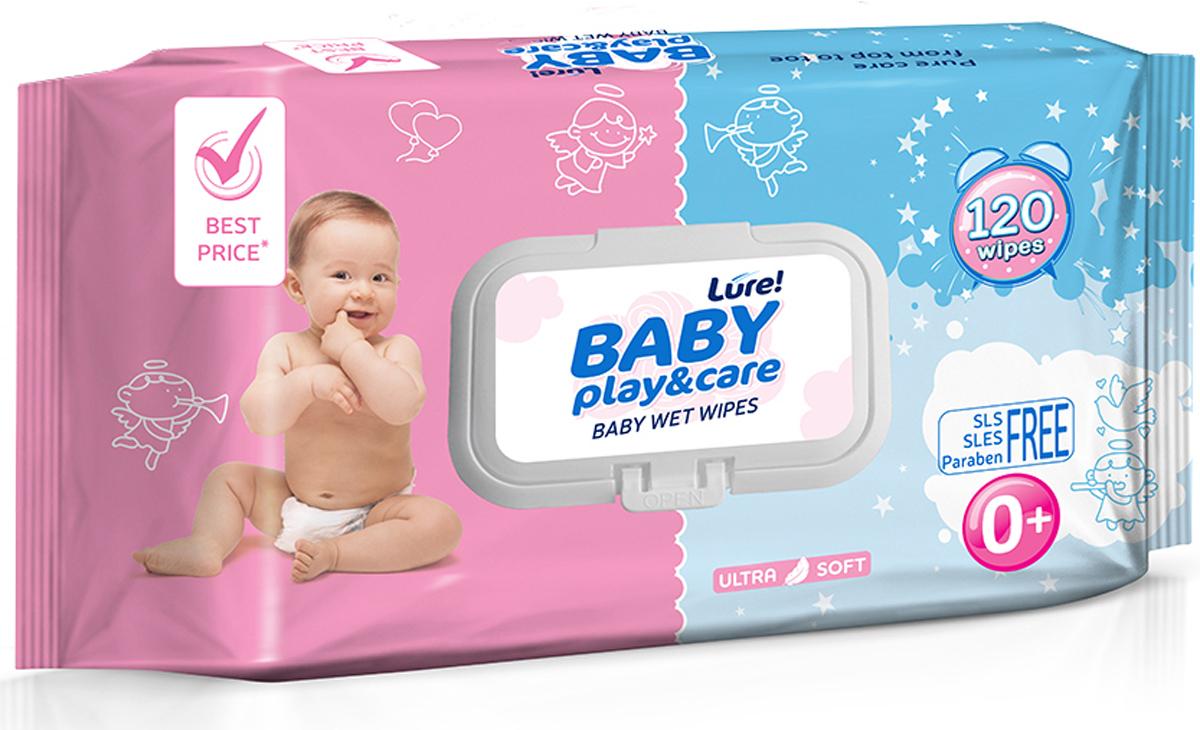 Lure Влажные салфетки для детей, 120 штLMC-6998Придает чувство свежести и мягко очищает нежную чувствительную кожу малыша, не вызывая раздражения.