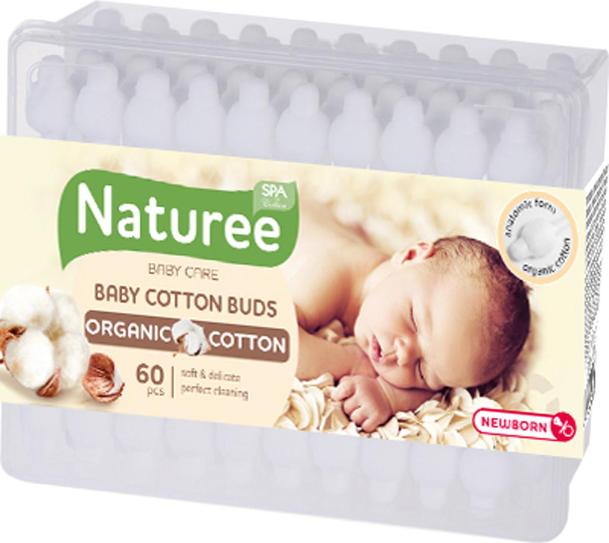 Spa Cotton Ватные палочки для детей Naturee с ограничителем, 60 шт гигиена для мамы spa cotton ватные диски bamboo