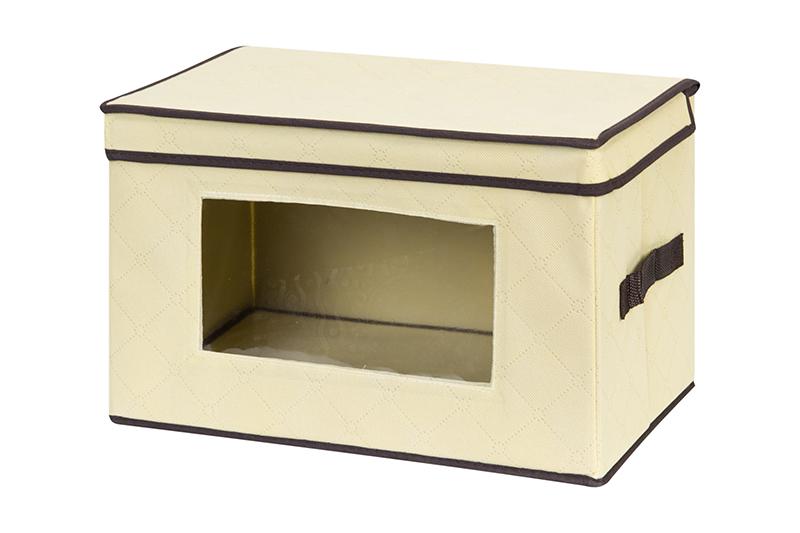 Кофр для хранения вещей El Casa Геометрия стиля, складной, цвет: молочный, 38 х 25 х 25 см