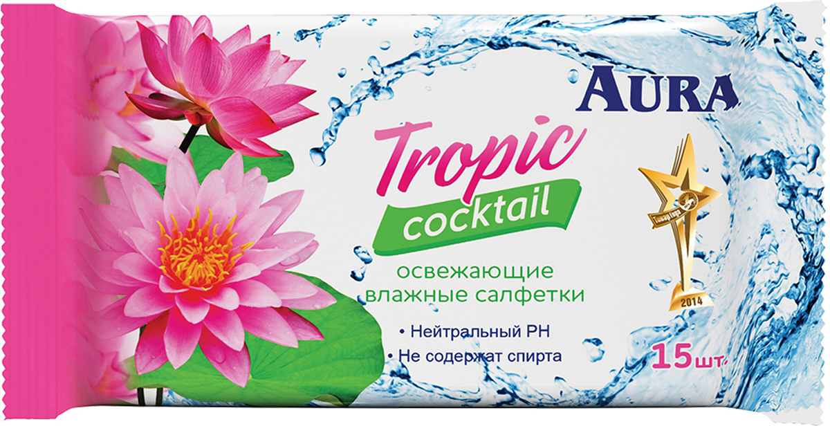 Aura Влажные салфетки освежающие Tropic Cocktail, 15 шт