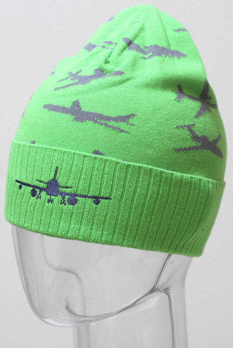 Шапка для мальчика Marhatter, цвет: зеленый. MBH6413. Размер 52/54MBH6413Шапка для мальчика Marhatter выполнена из натурального хлопка. Модель слегка удлиненной формы с отворотом дополнена вышивкой и жаккардовым узором в виде самолета. Уважаемые клиенты!Размер, доступный для заказа, является обхватом головы.
