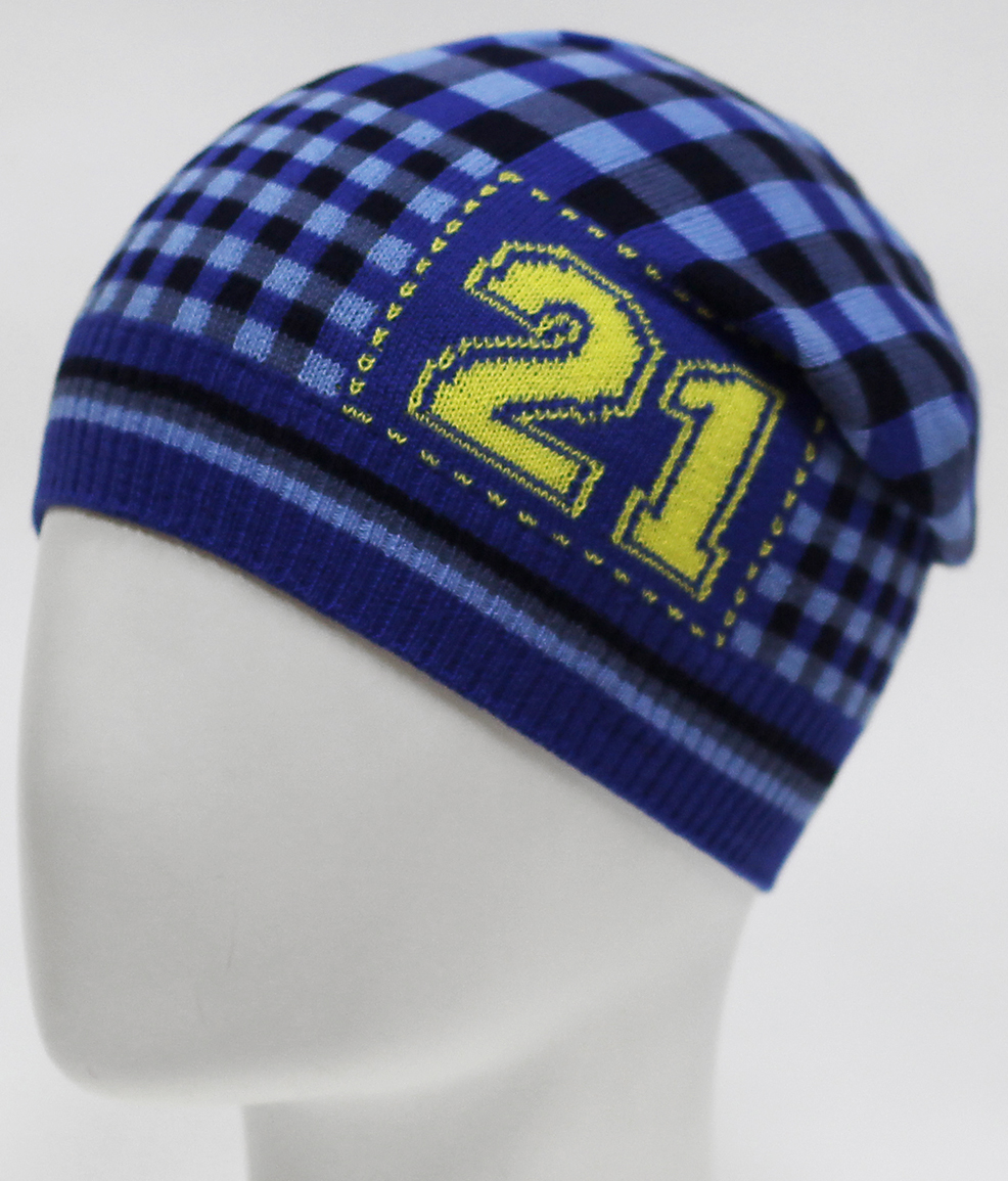 Шапка для мальчика Marhatter, цвет: синий. MBH7255. Размер 50/52MBH7255Хлопковая шапка с ярким жаккардовым геометрическим узором и цифрами.
