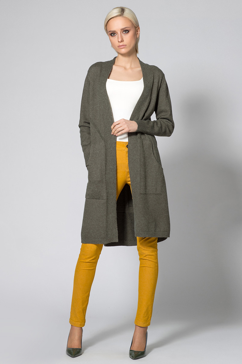 Кардиган женский Conso, цвет: темно-зеленый. KWCM170783. Размер 48 (50) кардиган женский pettli collection цвет зеленый 14520 размер 50 52