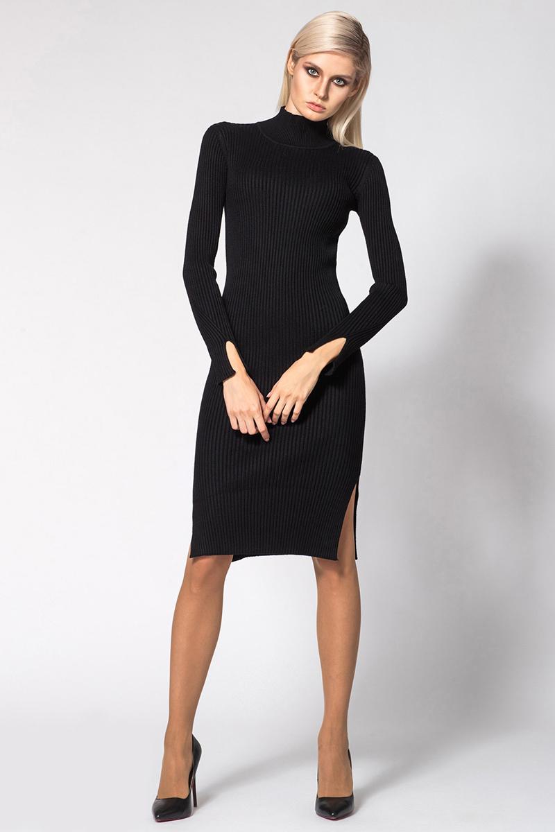 Платье Conso, цвет: черный. KWDL170788. Размер 42 (44)KWDL170788 - blackСтильное платье облегающего силуэта длиной миди. Модель с полустойкой по горловине, длинными рукавами и боковыми разрезами. Изделие выполнено из мягкой пряжи с текстурной вязкой. Универсальный вариант на каждый день!