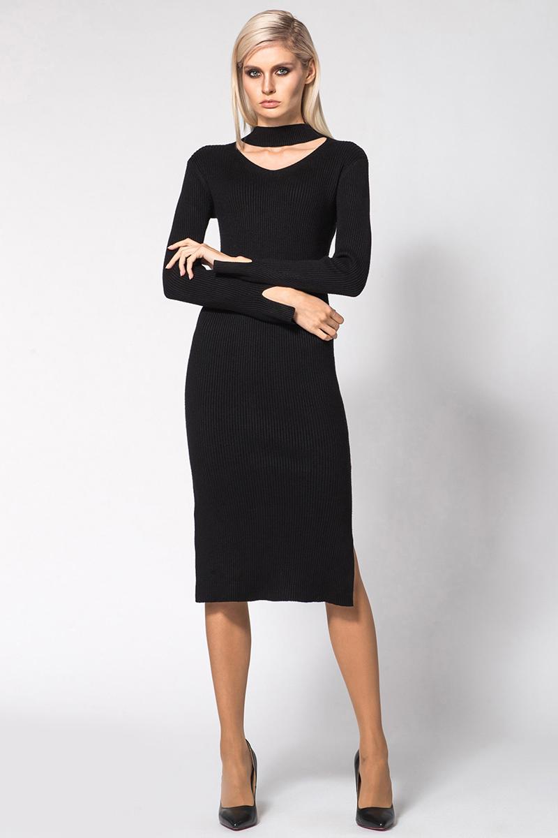 Платье Conso, цвет: черный. KWDL170787. Размер 44 (46)KWDL170787 - blackЭлегантное теплое платье с длинными рукавами и оригинальным модным вырезом по горловине. Модель облегающего силуэта длиной миди. Рукава и подол оформлены разрезами. Фактурная вязка лапша вытягивает силуэт и подчеркивает фигуру.