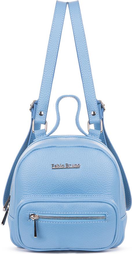 Рюкзак женский Fabio Bruno, цвет: небесно-голубой. R-1750/1R-1750/1Стильный женский рюкзак из мягкой кожи небесно-голубого цвета подчеркнет вашу индивидуальность. Внутри - одно большое отделение и карман на молнии для мелочей, снаружи - карман на металлической молнии. Плечевые ремни с регулируемой длиной.