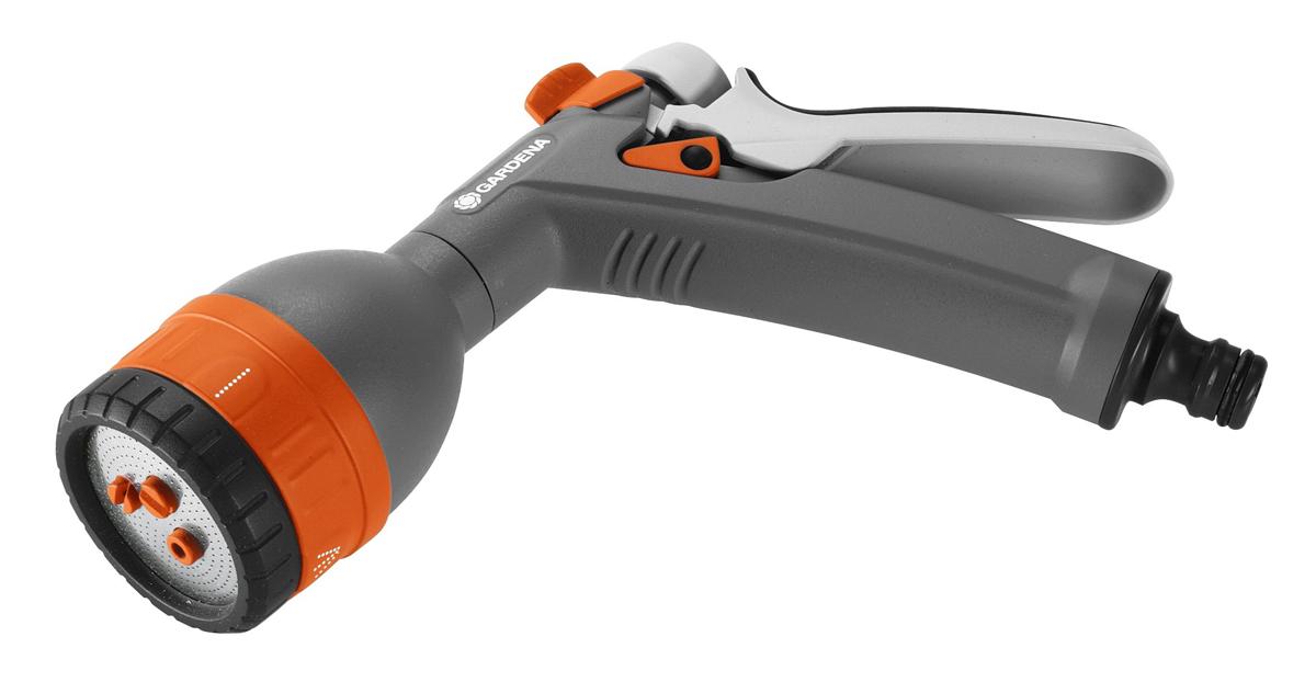 """Многофункциональный пистолет для полива Gardena """"Classic"""" комплектуется коннектором для шланга 13мм (1/2""""). Предназначен для направленного полива растений. Имеет четыре режима и плавную регулировку с помощью наконечника. Оснащен механизмом фиксации курка для удержания непрерывного полива. Эргономичная рукоятка обеспечивает комфортную работу с пистолетом.   Размер соединения: 1/2""""."""