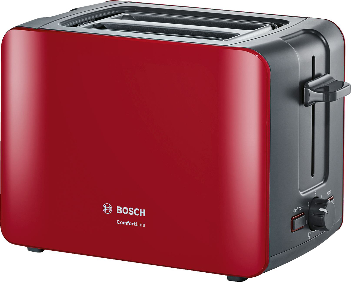 Bosch ComfortLine TAT6A114, Red тостерTAT6A114Компактный тостер серии ComfortLine.Отличное начало дня с хрустящего ломтика хлеба с любимым джемом, приготовленного стильным компактным тостером! Автоматическое центрирование тостов для равномерного поджаривания Интегрированная складывающаяся подставка для подогрева выпечки Высокий подъем решетки в слотах позволяет с легкостью извлекать небольшие ломтики хлеба Дополнительная функция разморозки и подогрева Слоты для приготовления двух ломтиков хлебаПлоский нагревательный элемент Электронный сенсор для поддержания оптимальной температуры поджаривания Терморегулятор с интегрированной опцией подогрева Отдельная подсвеченная клавиша для включения режима приготовления замороженных тостов Съемный поддон для крошек для легкой чистки Подсвеченная клавиша Stop Автоматическое отключение при застревании тоста Намотка кабеля в цоколе