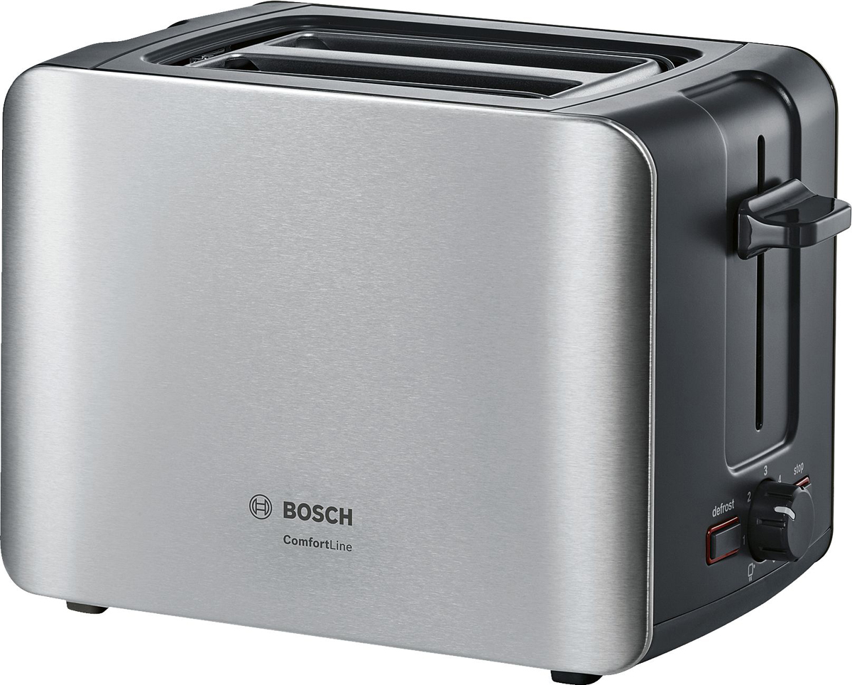 Bosch ComfortLine TAT6A913, Gray тостерTAT6A913Компактный тостер серии ComfortLine.Отличное начало дня с хрустящего ломтика хлеба с любимым джемом, приготовленного стильным компактным тостером! Автоматическое центрирование тостов для равномерного поджаривания Интегрированная складывающаяся подставка для подогрева выпечки Высокий подъем решетки в слотах позволяет с легкостью извлекать небольшие ломтики хлеба Дополнительная функция разморозки и подогрева Слоты для приготовления двух ломтиков хлебаПлоский нагревательный элемент Электронный сенсор для поддержания оптимальной температуры поджаривания Терморегулятор с интегрированной опцией подогрева Отдельная подсвеченная клавиша для включения режима приготовления замороженных тостов Съемный поддон для крошек для легкой чистки Подсвеченная клавиша Stop Автоматическое отключение при застревании тоста Намотка кабеля в цоколе