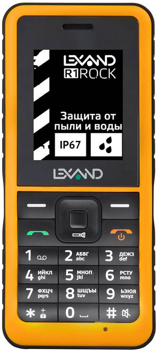 Lexand R1 Rock, Black YellowR1 RockТелефон Lexand R1 Rock идеально подойдет для поклонников активного образа жизни. Это надежный пылезащищенный и водонепроницаемый телефон (стандарт защиты IP67).Аккумулятор на 1000 мАч гарантирует 8.5 часов в режиме разговора или около 23 суток в режиме ожидания. В телефон можно установить две SIM-карты, чтобы пользоваться двумя номерами. Это дает возможность разделить контакты так, как удобно владельцу: например, провести четкую границу между личным общением и разговорами по работе.Модель оборудована 0,3-мегапиксельной камерой. С ее помощью можно запечатлеть на память то, что привлекло ваше внимание.Разработчики предусмотрели аудиоплеер и FM-радио, позволяющее слушать передачи любимых станций и быть в курсе последних новостей. Хранить подборку музыки можно на карте памяти: телефон оборудован слотом для карт формата microSD объемом до 16 Гб.Телефон сертифицирован EAC и имеет русифицированную клавиатуру, меню и Руководство пользователя.