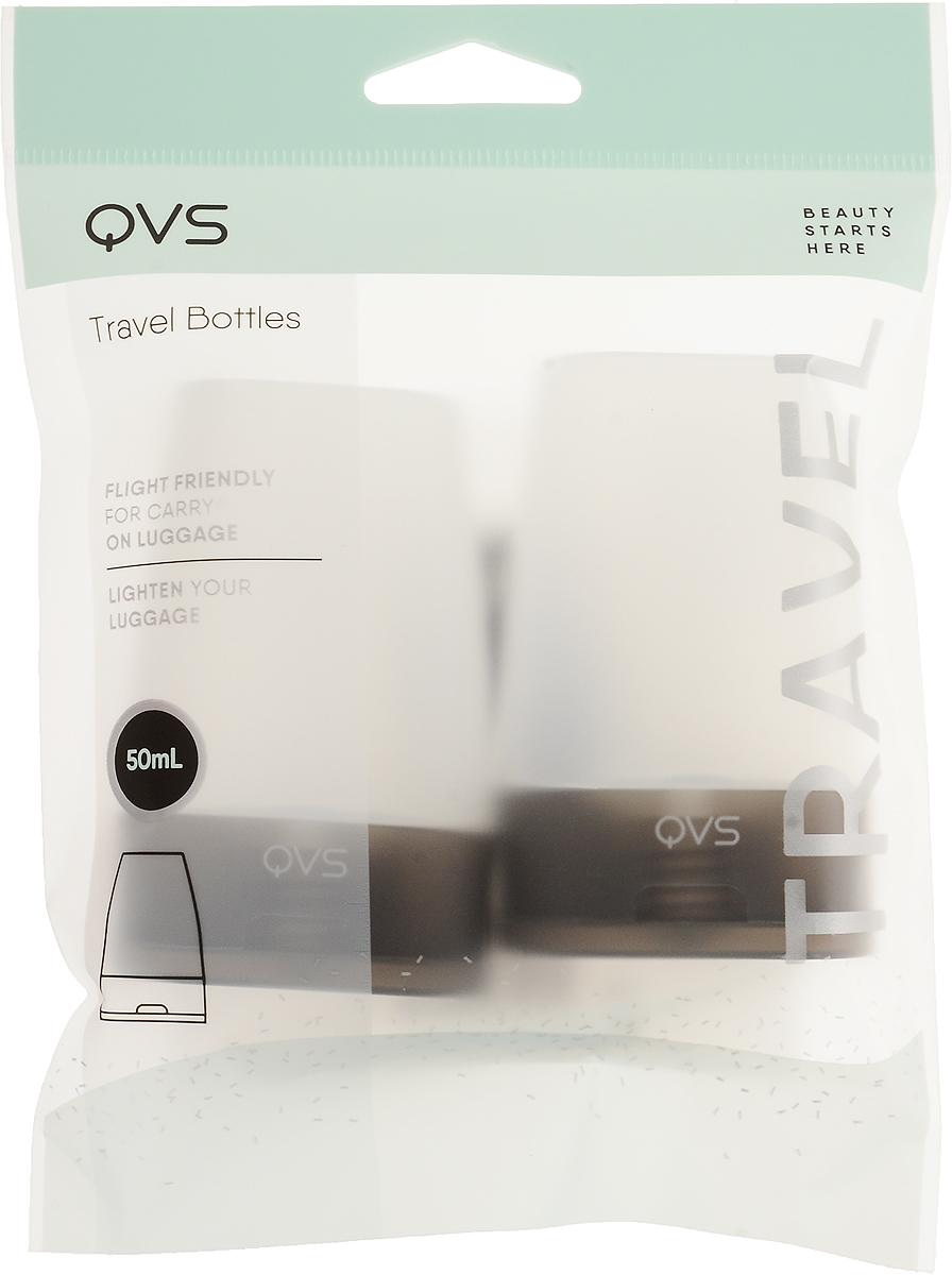 QVS Дорожные флаконы для косметических жидкостей; 50 мл, цвет крышки: черный, 2 шт10-1183_черная крышка