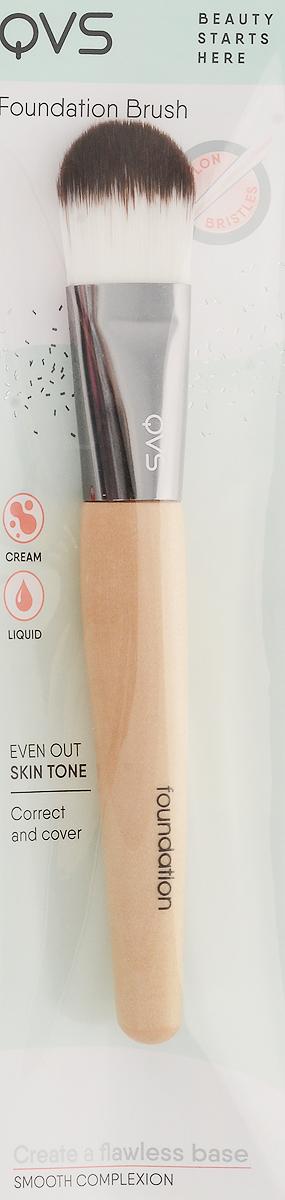 QVS Кисть для основы макияжа из мягких синтетических волокон, дерево qvs спонж профессиональный для основы макияжа professional foundation sponge
