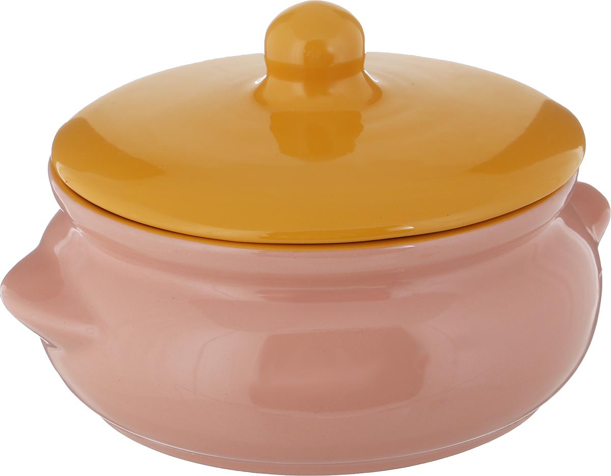 """Горшок для запекания Борисовская керамика """"Радуга"""", с крышкой, цвет: розовый, 700 мл"""