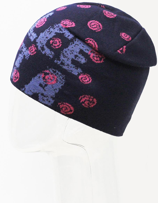 Шапка для девочки Marhatter, цвет: темно-синий. MFH7279. Размер 55/56MFH7279Подростковая шапка с современным дизайном, выполненная из хлопка. Стильное сочетание в жаккардовом узоре. Такая модель дополнит образ современной молодежи. Размер, доступный для заказа, является обхватом головы.