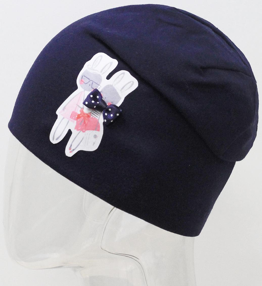 Шапка для девочки Marhatter, цвет: темно-синий. MFH7440/5. Размер 55/56MFH7440/5Двойная шапка удлиненной формы из хлопка с небольшим содержанием лайкры. Прекрасно подойдет стильным и современным модницам. Размер, доступный для заказа, является обхватом головы.