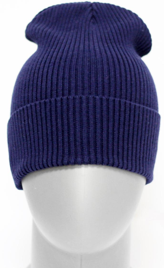 Шапка для девочки Marhatter, цвет: темно-синий. MFH5605. Размер 55/56MFH5605Стильная однотонная шапка с отворотом, выполненная из хлопка. Отлично подойдет для ежедневных прогулок. Размер, доступный для заказа, является обхватом головы.