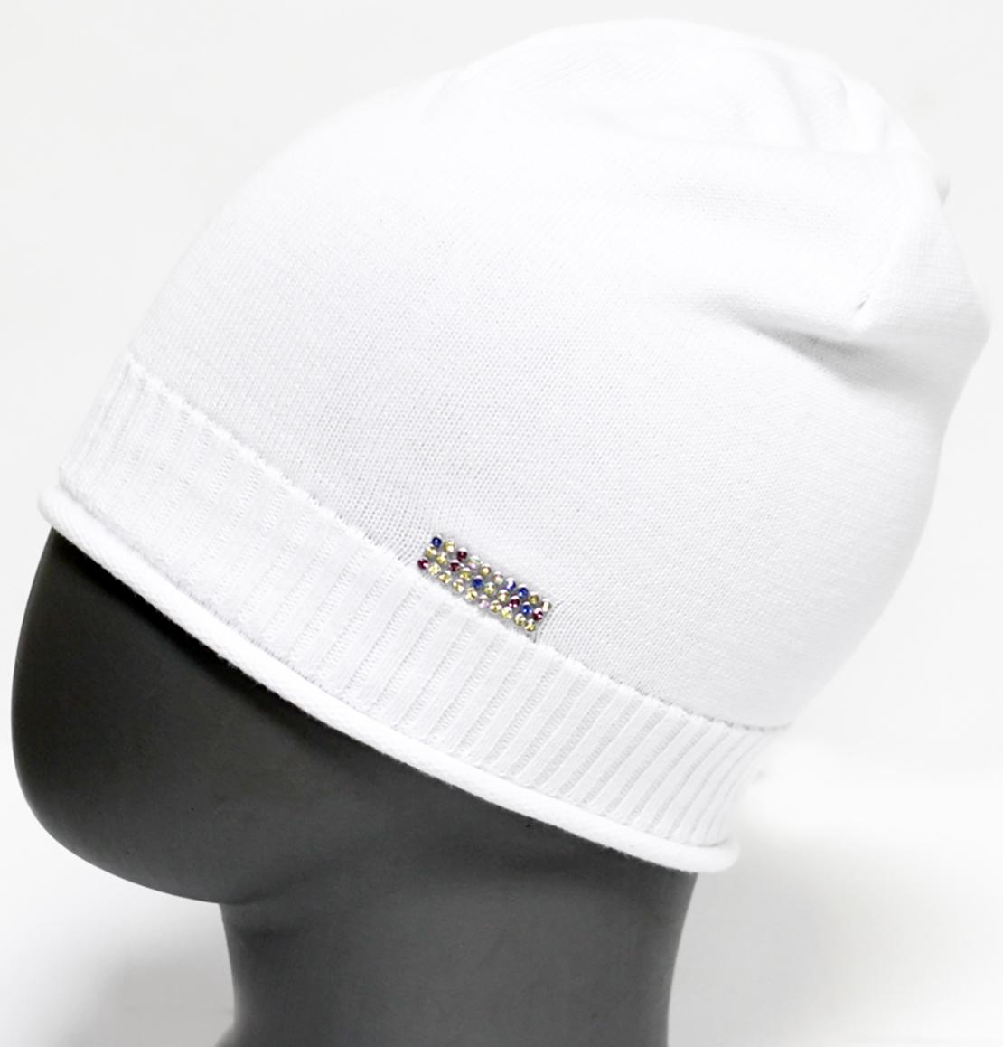 Шапка для девочки Marhatter, цвет: белый. MFH5600. Размер 55/56MFH5600Стильная шапка из хлопка. Изделие украшено лентой со стразами.