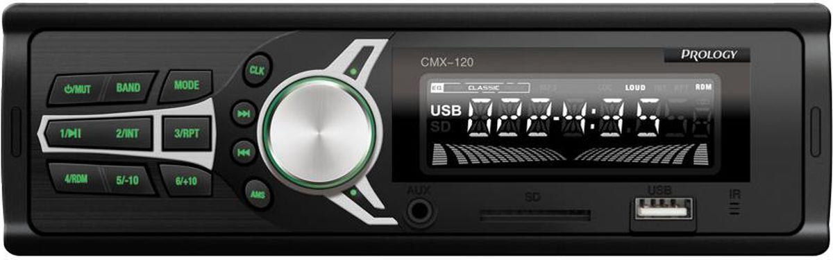 Prology CMX-120 автомагнитолаCMX-120FM SD/USB ресивер PROLOGY CMX-120 дополнит ваш автомобиль самыми необходимыми опциями: воспроизведением музыки и прослушиванием радио. В нём не предусмотрено лишнего функционала, за который непременно пришлось бы платить – это бюджетный FM SD/USB ресивер с простым управлением и оптимальным набором функций. Он выполнен в типоразмере 1DIN, оснащен несъемной лицевой панелью чёрного цвета и имеет зелёную подсветку кнопок. Для удобства в эксплуатации ресивер также комплектуется пультом дистанционного управления.FM SD/USB ресивер PROLOGY CMX-120 выдаёт высокую выходную мощность 4х45 Вт, чего вполне достаточно для создания хорошего звука в автомобиле. Он может использоваться для подключения дополнительных аудиокомпонентов, таких как сабвуфер, многоканальный усилитель и мощные акустические системы. Для этого на задней панели устройства предусмотрен линейный аудио-выход на RCA разъёмах. Сдержанный дизайн FM SD/USB ресивера PROLOGY CMX-120 позволяет ему гармонично смотреться на любой приборной панели. С лицевой стороны расположены AUX и USB входы, через них присоединяются внешние различные источники и носители с соответствующим интерфейсом, также имеется специальный слот для загрузки SD карт.Благодаря своей практичности и надёжности FM SD/USB ресивер PROLOGY CMX-120 станет надёжным другом и будет скрашивать время, проведенное в дороге. Продуманное соотношение стоимости, качества и оптимального числа опций устройства вызовет у автовладельцев заслуженное признание.