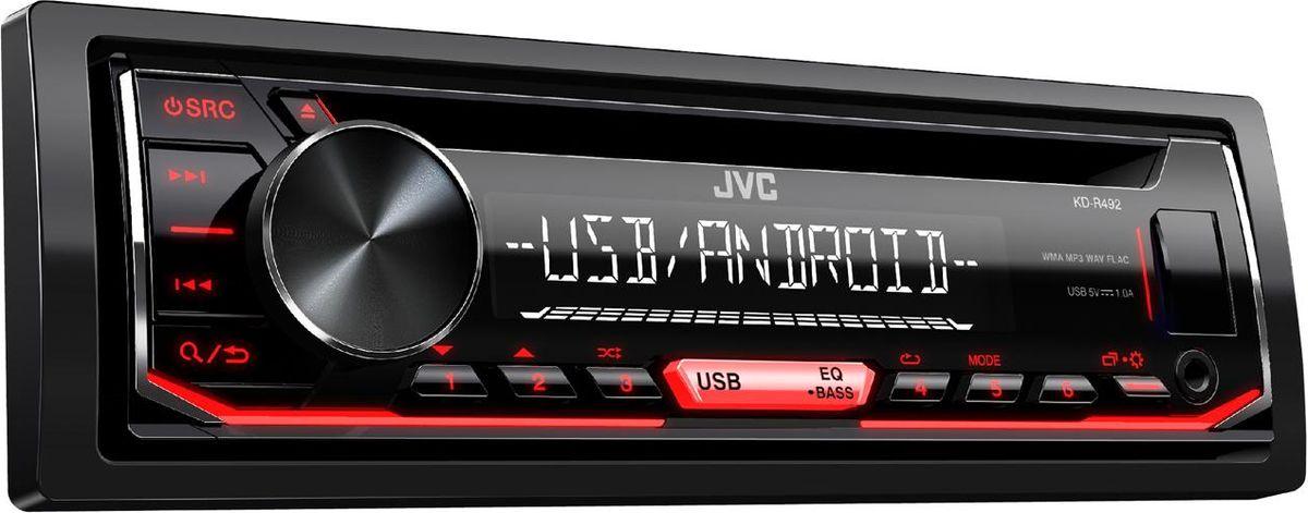 JVC KD-R492 автомагнитолаKD-R492Поддерживает дистанционное управление на рулеПоддержка FLAC (до 16бит/48кГц)1 RCA Preout, 2.5V (Rear/Sub Switchable)Функция Digital Track ExpanderВоспроизведение музыки с Android (AUDIO MODE и AUTO MODE)MP3 / WMA / WAV Compatible15 предустановок эквалайзера