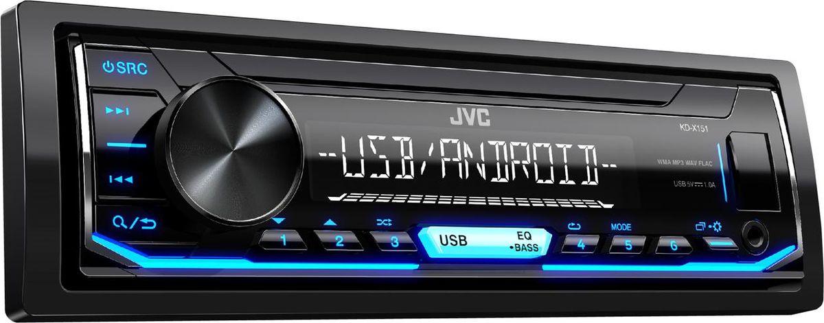 JVC KD-X151 автомагнитолаKD-X151USB with 1A Charge for Smartphone 1 RCA Preout, 2.5V (Rear/Sub Switchable) 15 предустановок эквалайзера Blue key Illumination Функция Digital Track Expander Воспроизведение музыки с Android (AUDIO MODE и AUTO MODE) Unit without CD mechanism Поддержка FLAC (до 16бит/48кГц) Поддерживает дистанционное управление на руле MP3 / WMA / WAV Compatible Short chassis (100mm)