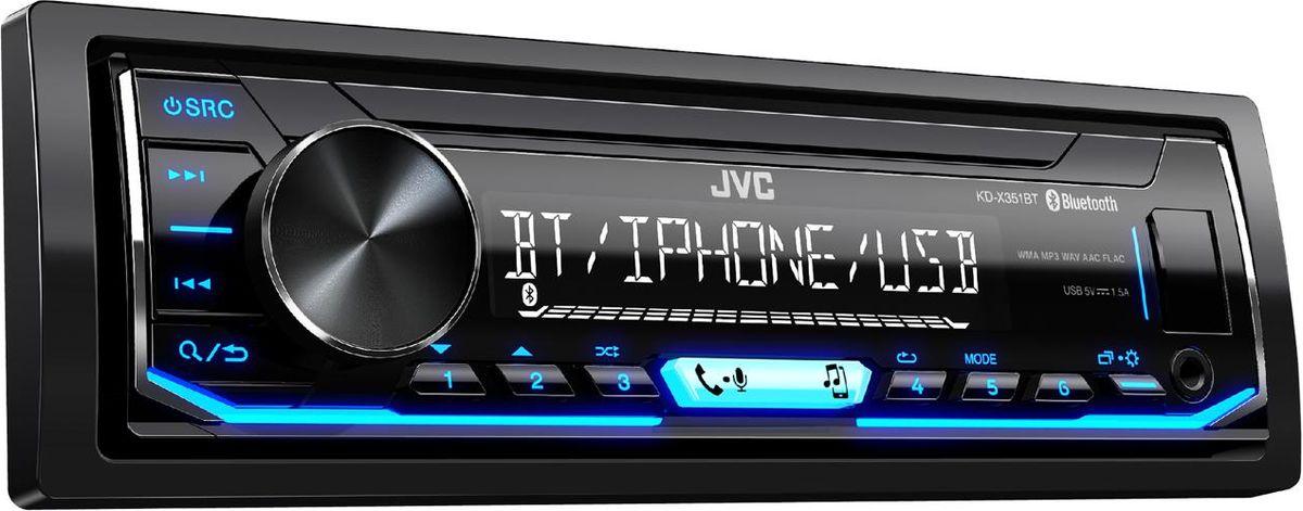 JVC KD-X351BT автомагнитолаKD-X351BTЦифровой медиаресивер с беспроводной технологией Bluetooth® и поканальным подключением акустикиПередача и управление потоковым аудио по Bluetooth (A2DP, AVRCP) Подключение по Bluetooth до 5 аудио устройств (JVC Streaming DJ) Голосовой набор номера по Bluetooth (требуется телефон с функцией распознавания голоса) Беспроводная технология Bluetooth(R) (*доступные функции зависят от модели телефона) Беспроводные звонки по Bluetooth (HFP) Постоянное подключение 2-х телефонов по Bluetooth Воспроизведение музыки с iPod/iPhone Загрузка телефонной книги по Bluetooth (PBAP) Автоматическое сопряжение по Bluetooth устройств на iPhone и Android Воспроизведение музыки с Android (AUDIO MODE и AUTO MODE)K2 - это оригинальная технология JVCKENWOOD, которая воспроизводит звуковой файл, увеличивая скорость обработки цифрового потока и интерполируя утерянные при сжатии частоты, что позволяет получить звук близкий к оригиналу.Звуковые задержкиSound ResponseПоддержка FLAC (до 24бит/96кГц)13-полосный графический эквалайзерЭквалайзер с 11 предустановкамиПоддерживает дистанционное управление на руле2 RCA Preouts, 2.5V (Front - Rear/SUB)Rear/Sub swichtableSpace EnhancementSound LiftVolume Link EQПриложение JVC Remote ControlВысокоскоростная зарядка по USB (до 1.5 А)