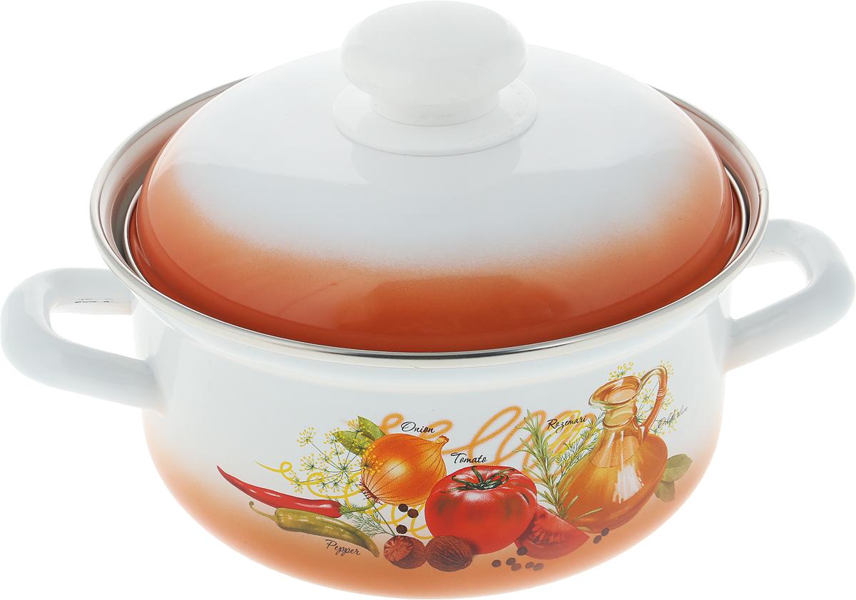 Кастрюля Лысьвенские эмали Овощи, с крышкой, 1,5 л салатник лысьвенские эмали ласковый май с крышкой 2 л