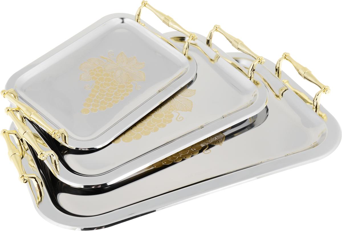 Набор подносов Bohmann, цвет: золотистый, серебристый, 3 шт. 6934BH6934BHНабор Bohmann состоит из трех прямоугольных подносов с закругленными углами, разного размера. Подносы выполнены из стали сглянцевой полировкой и оформлены изящным рельефным узором. Они отлично подойдут для красивой сервировки различных блюд, закусок ифруктов на праздничном столе.Благодаря ручкам подносы с легкостью можно переносить с места на место.Изящный дизайн подносов придется по вкусу и ценителям классики, и тем, кто предпочитает утонченность и изысканность. Набор подносовBohmann станет отличным подарком на любой праздник Размеры: 41,4 х 29 см, 34 х 24 см, 26,5 х 19 см