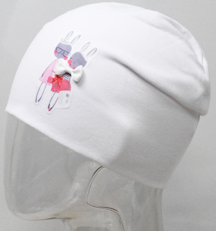 Шапка для девочки Marhatter, цвет: белый. MFH7440/5. Размер 55/56MFH7440/5Двойная шапка удлиненной формы из хлопка с небольшим содержанием лайкры. Прекрасно подойдет стильным и современным модницам. Размер, доступный для заказа, является обхватом головы.